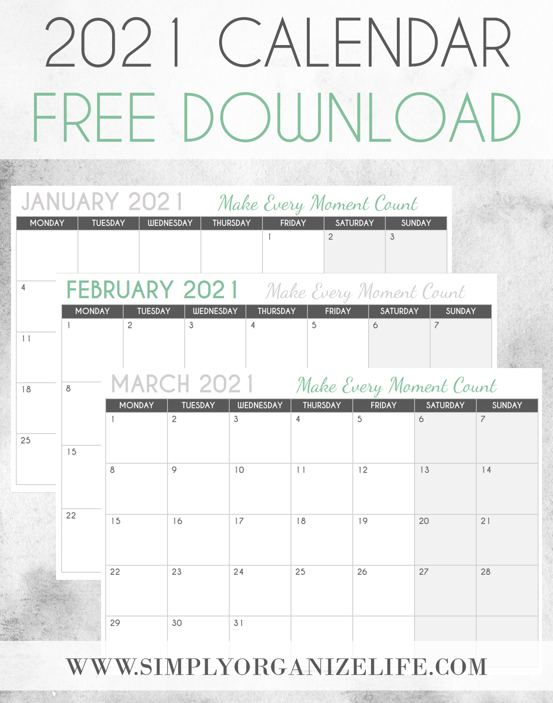 Free 2021 Calendar Printable – Download Yours Now